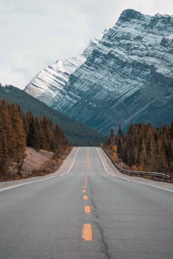 Road leading toward mountains