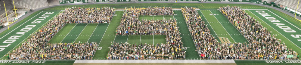 Thousands of people standing on a football field in the shape of CSU letters.