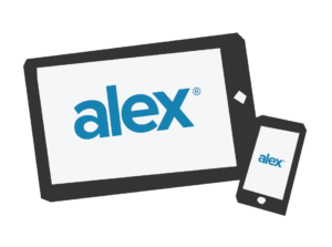 picture of a tablet and phone with the alex logo