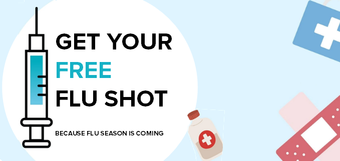 Blue header with images of medical supplies that says 'get your free flu shot'
